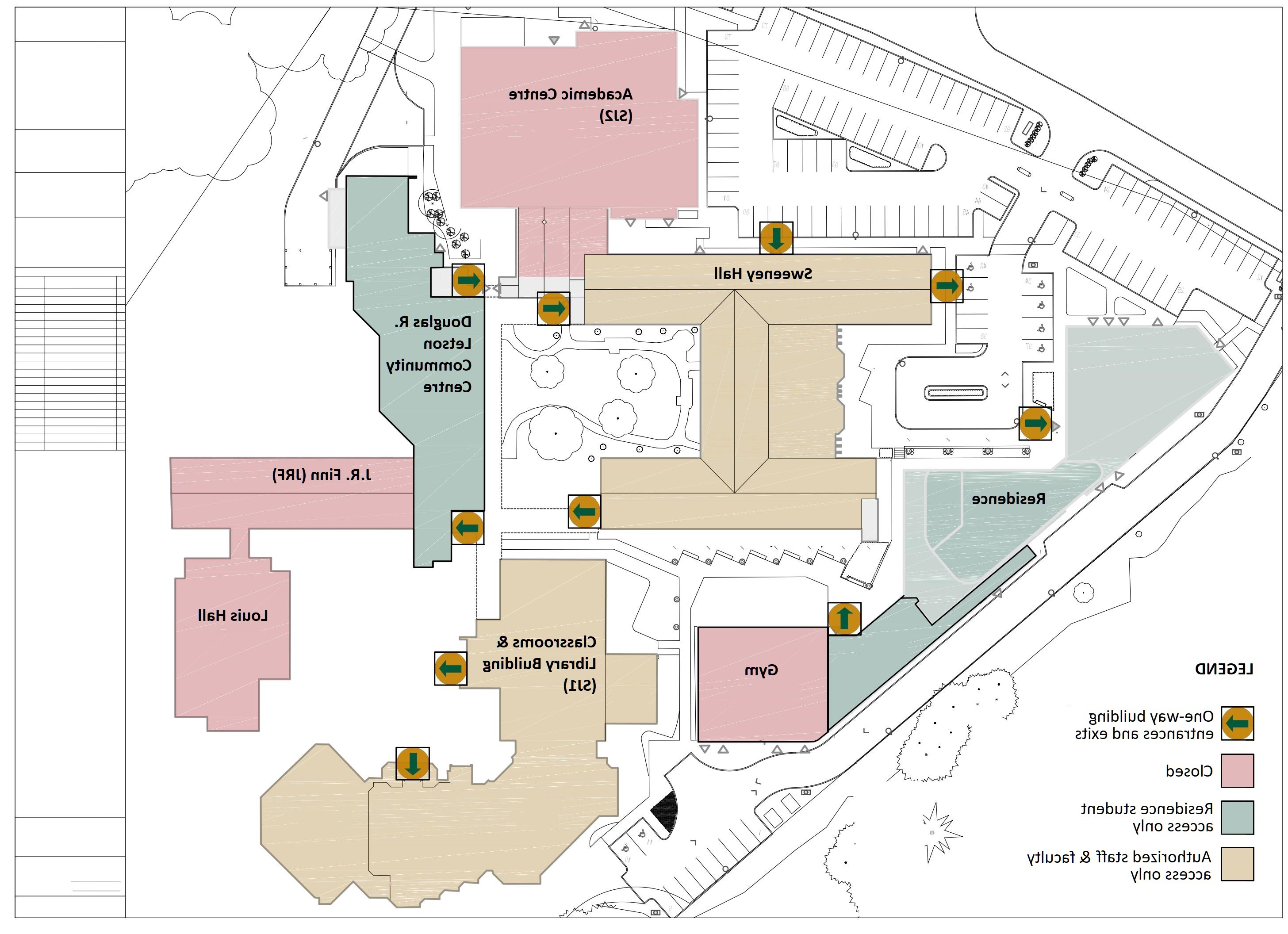 Overhead line drawing of campus building to indicate which buildings are impacted by COVID closures